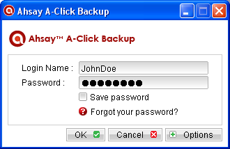 Installing Remote Backup (Ahsay) Software b. Click the blue link that says Already a user? This is located in the bottom left corner of the window: c.