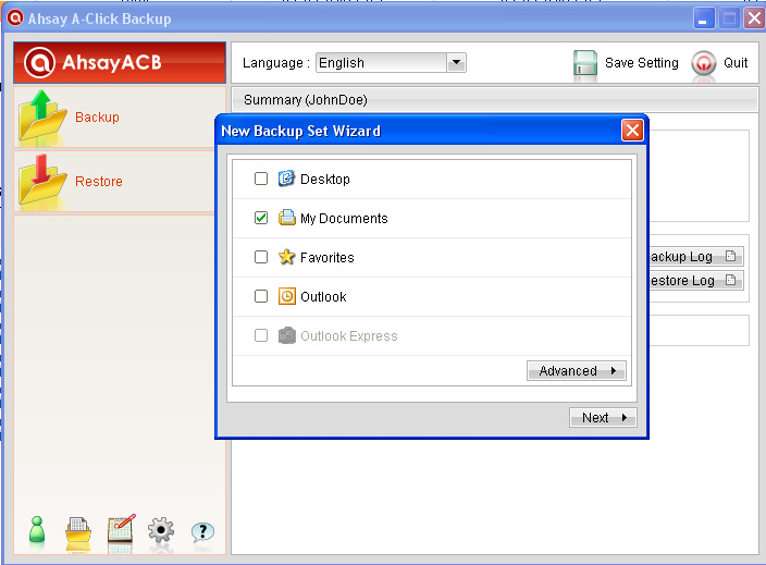 Installing Remote Backup (Ahsay) Software d. Now you have the option to select which files and folders you want to backup: e.