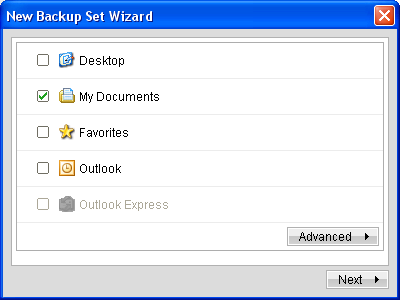 If you also want to backup your favorites, Outlook, Outlook Express, or your Desktop files, check those.