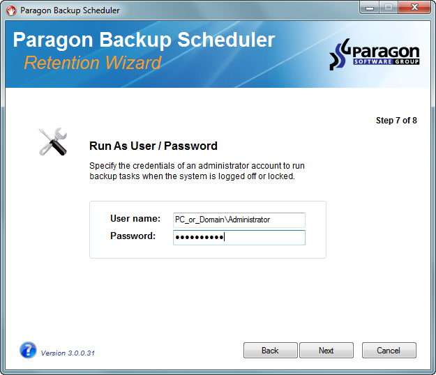 Step 8 - Summary 11. Use the summary page to review your backup settings.