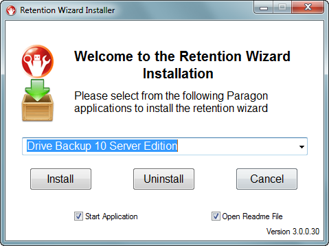4. Click on the drop down menu to select an existing Paragon backup application installation. 5. Options for Start Application and Open Readme File are selected by default, but may be un-checked. 6.