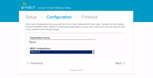 2. Configure the SEG for your specific deployment. Enter the following information: In the Organization Group field, enter the Group ID for the SEG's Organization Group.