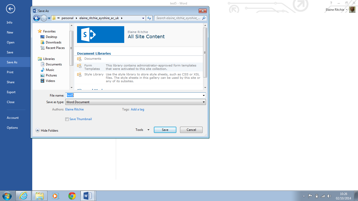 3. The popup window that appears will show your Ayrshire College email account at the top 4.
