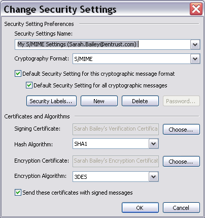 4 Click New on the dialog box. All fields clear. 5 Give your new security profile a name. 6 Choose both a signing and encryption certificate.