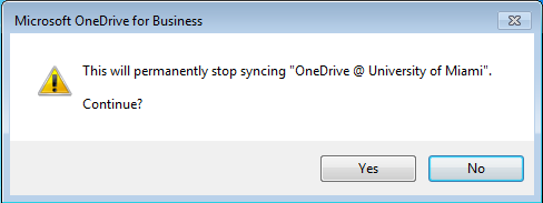 3. The Stop syncing a folder window will appear. Select OneDrive @University of Miami and then click Stop syncing. 4.