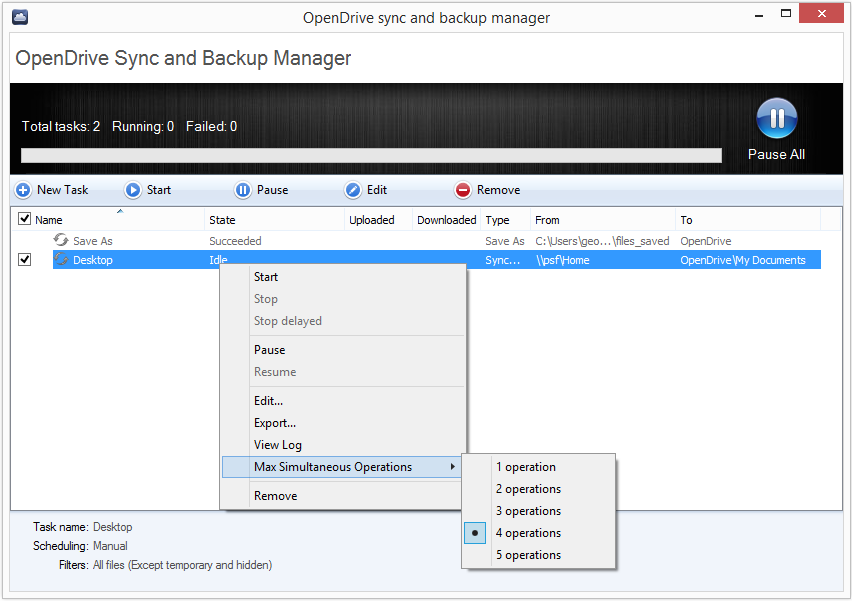 Advanced Sync and Backup Settings Right clicking a sync or backup task allows you the opportunity to access and edit settings, manually stop or start a task, delay