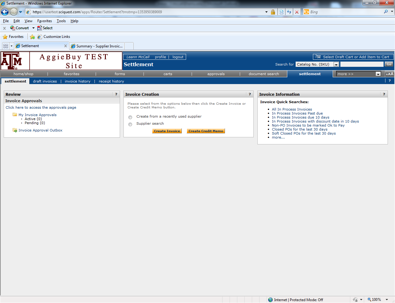 CREATING NON-PO BASED INVOICES IN AGGIEBUY Click on the