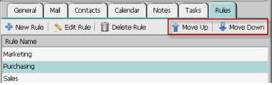 Organizing your rules Webmail applies the rules according to the order in the list on the Rules tab. If you change the order, the order the rules are applied will change accordingly.