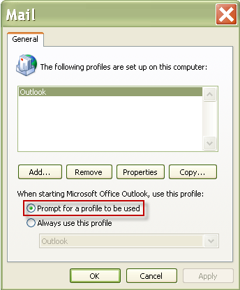 Chapter 2: Accessing Your Mailbox 3 In the dialog box, select Prompt for a profile to be used and then click OK.