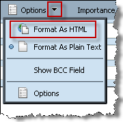 To format your email message: 1 In the message window, click the downward arrow on the Options button, and then choose Format As HTML. 2 Use the tool bar to format your message.