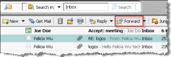 Forwarding email messages Descriptions and tasks When you forward a message to someone else, the forwarded message includes all file attachments.