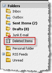 Deleting email messages Follow these steps: Select the email message and then click the trash can button to move it to the Deleted Items folder.