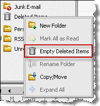 3 Click Yes in the confirmation message. To permanently delete all messages in the Deleted Items folder: 1 Right-click the Deleted Items folder and then choose Empty Deleted Items.