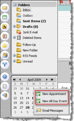 Using the mini-calendar Description and tasks Regardless of which folder you are viewing, the mini-calendar can always display and give you the convenience to perform these tasks: View