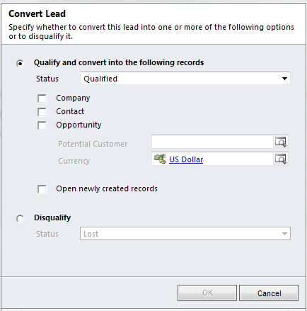 The required fields for a Lead are Topic and Last Name. Use the Navigation Panel on the Leads screen to view Details, Notes, and Activities that are associated with this Lead.