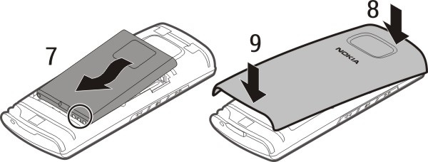 Close the holder. 5 Line up the contacts of the battery and the battery compartment, and insert the battery (7).