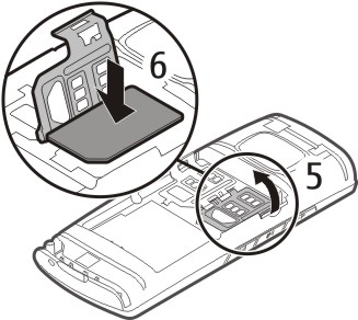 Get started 5 3 If inserting only one SIM card, open the SIM 1 card holder (3). Make sure the contact area is facing down, and insert the SIM card (4).
