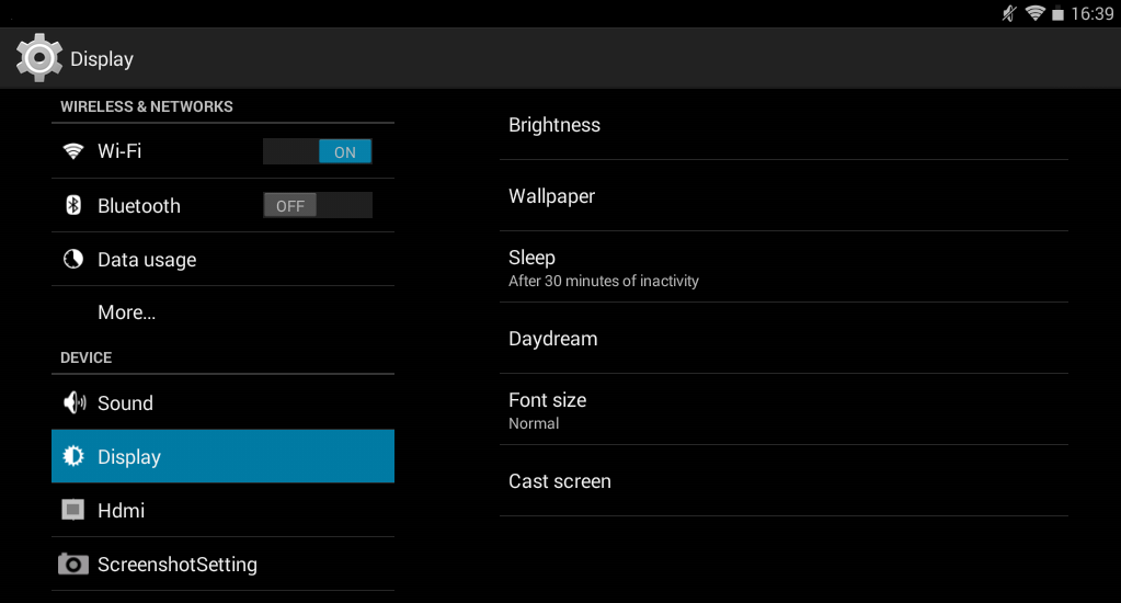 2.4 Display The Display settings allows you to change the brightness, wallpaper and font size on the Time2Touch Tablet PC.