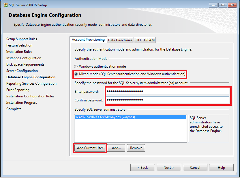 On the Database Engine Configuration screen, select Mixed Mode (SQL Server authentication and Windows authentication) and enter a password for the SA account. Shelby v.