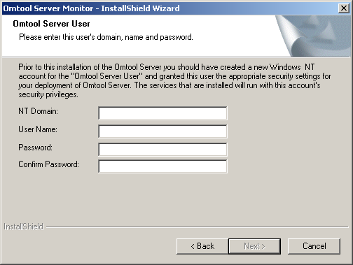 2-4 Section 2: Installation Omtool Server Monitor administrator guide 4 Read the license agreement and click YES if you agree to the terms. The setup shows setup options. 5 Click NEXT.