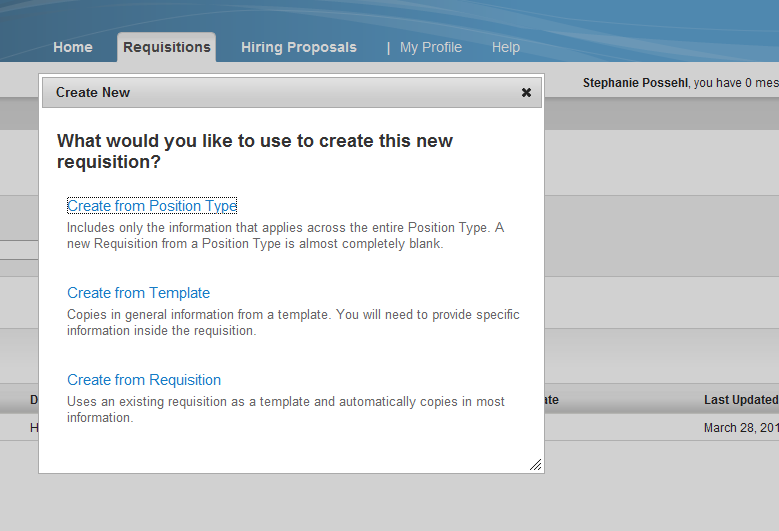 CREATING A REQUISITION To Create a new Requisition: 1. Make sure you are logged in as the Student Manager user type. 2.
