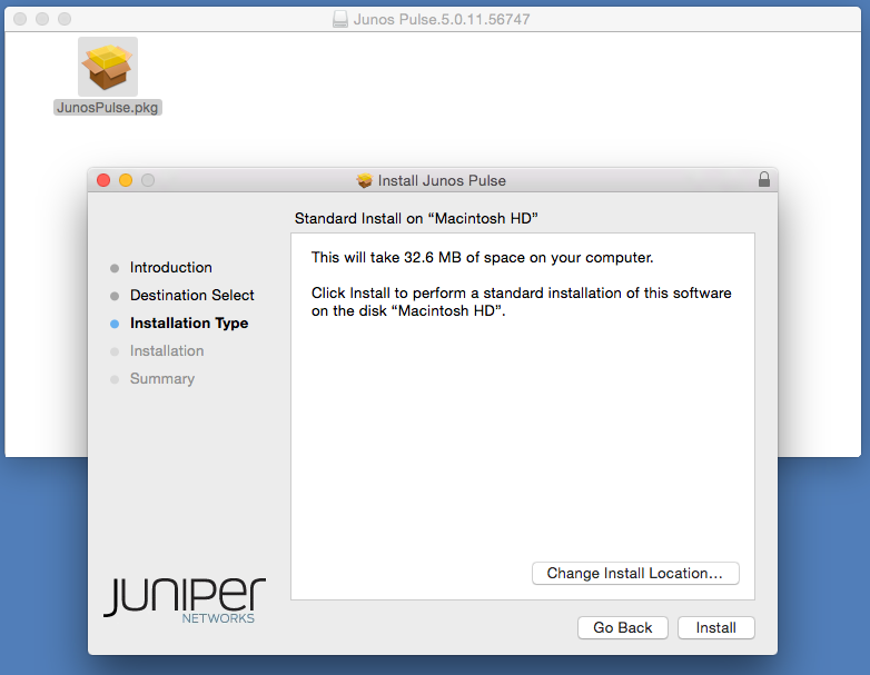 4) The Install Junos Pulse installer will open.