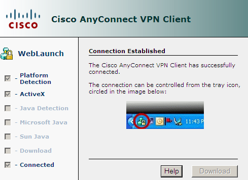 8. When the installation is complete the following window will popup to verify that