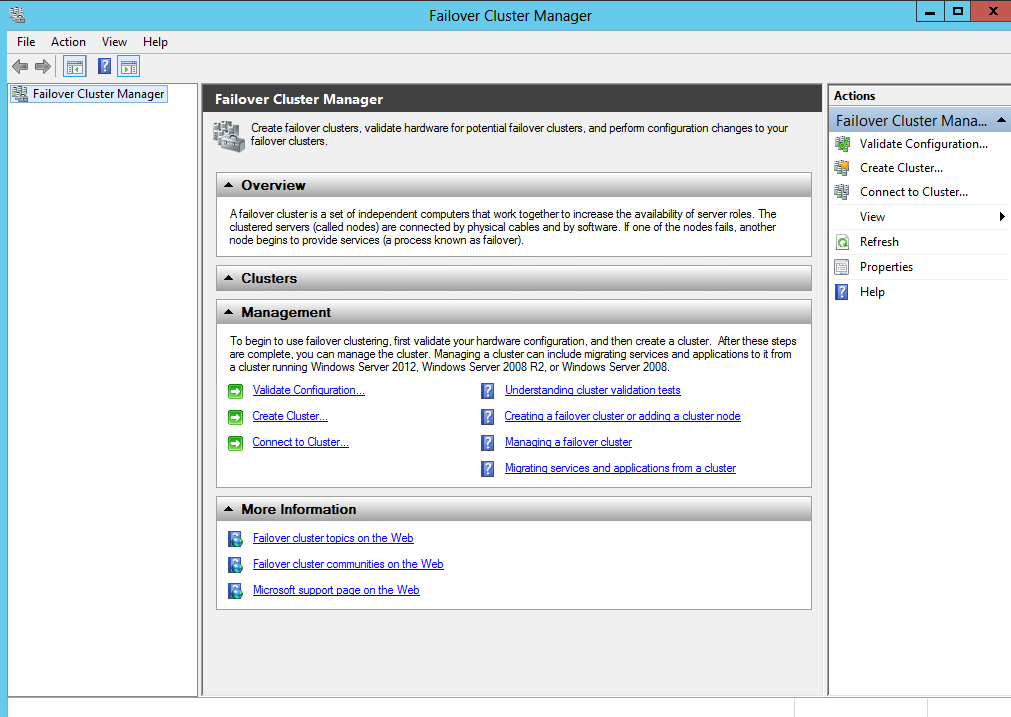 2. To open the Cluster Validation Wizard, in Failover Cluster Manager window, select Validate