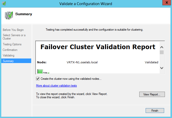 11. In the validation summary, verify that each node tested shows as Validated.