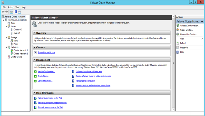 Once cluster creation is complete, the Failover Cluster Manager window lists all of