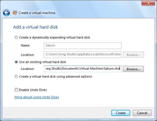 Virtual Hard Disk option and then click Browse button to locate