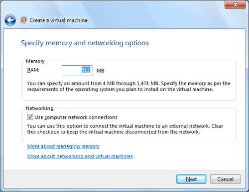 Figure 2: Specify the amount of RAM for XP virtual machine When