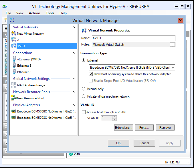 vtutilities Network Manager provides three groups of items in its left pane: o Virtual Networks contains New Virtual Network item that allows defining of a new external, internal or private virtual