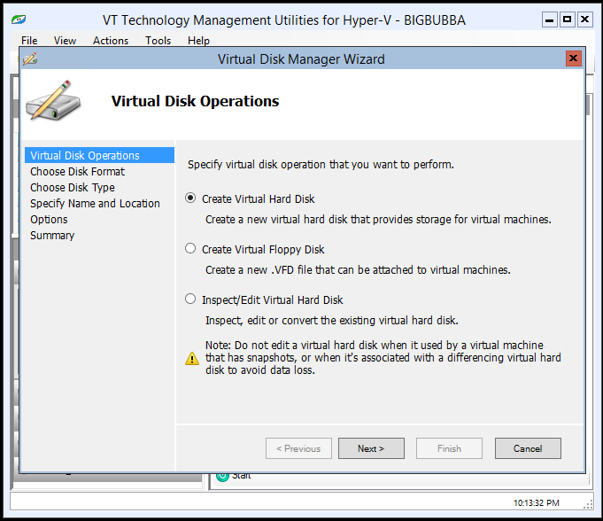 Virtual Disk Manager Wizard s first page allows selecting one of the following operations: o Create Virtual Hard Disk to create fixed, dynamically expending or differencing virtual hard disk.