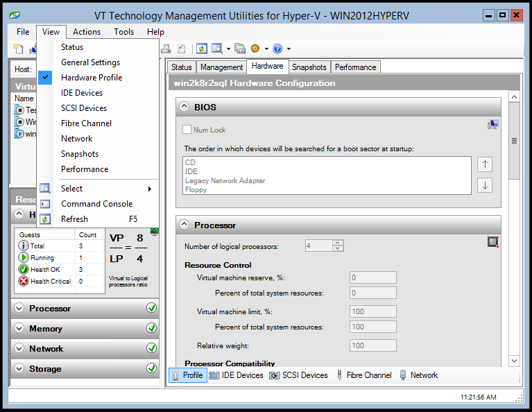 Guest Definition View vtutilities Guest Definition View contains the details of the hosted virtual machine currently selected in the Guest List View, including virtual machine state, configuration
