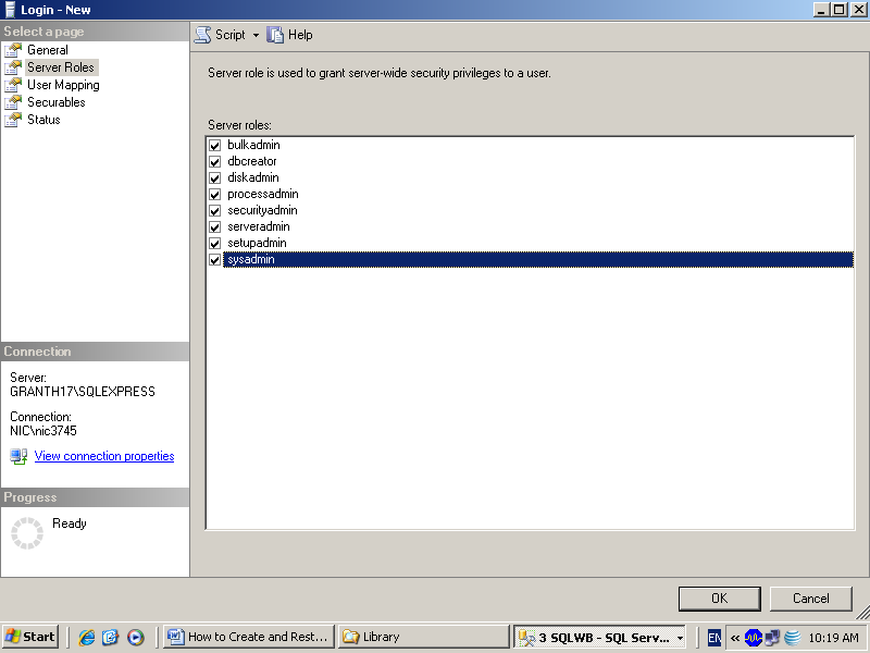 3. in the above screen, type the name of the login (granth3), choose SQL Server Authentication and type and re-type the password (granth3) and select the database (GRANTH3) for which you are creating