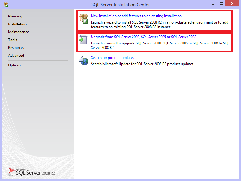 2. Go to Installation. Two ways to install SQL Server 2008 R2 Express Edition is mentioned below: a. Install a new instance of SQL Server 2008 R2 Express Edition (Recommended).