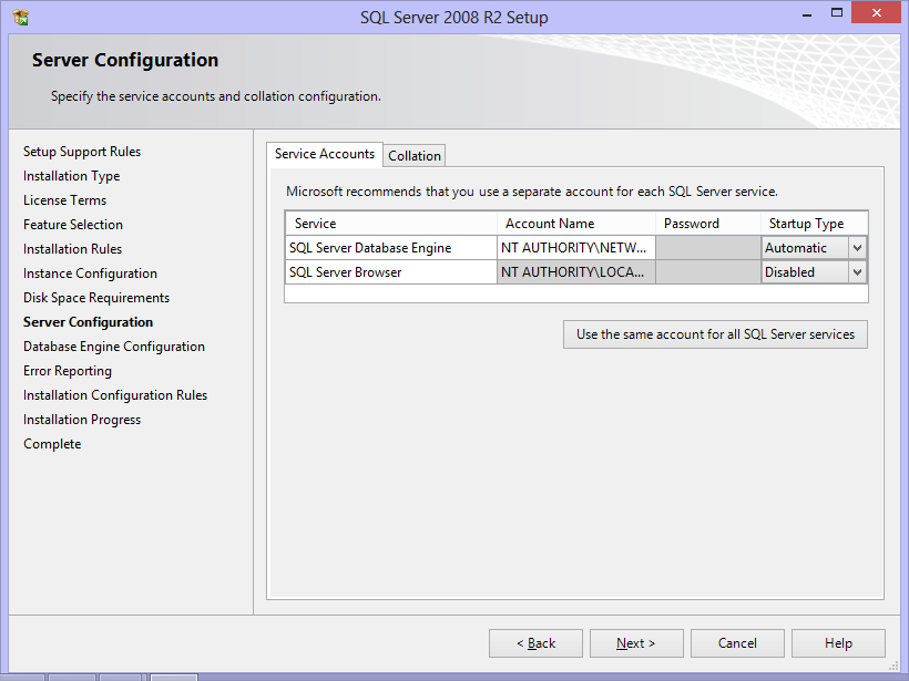 9. Server Configuration. On Server Configuration dialog, Service Accounts tab displays the service account details under which SQL Server services should run and the startup type for each.