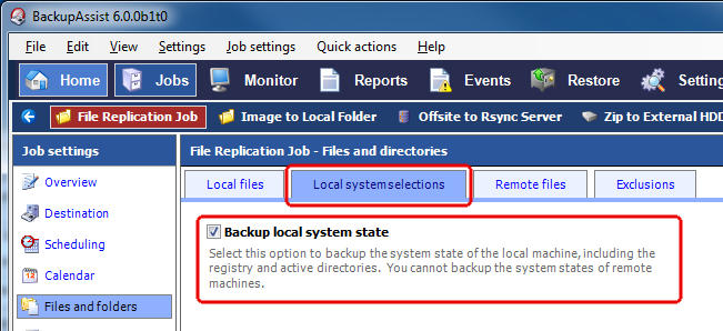 4 System State backup and restore File Replication, Zip, and Windows Imaging 3 With BackupAssist v6 you can schedule System State only backups across all modern Windows operating systems, or back up