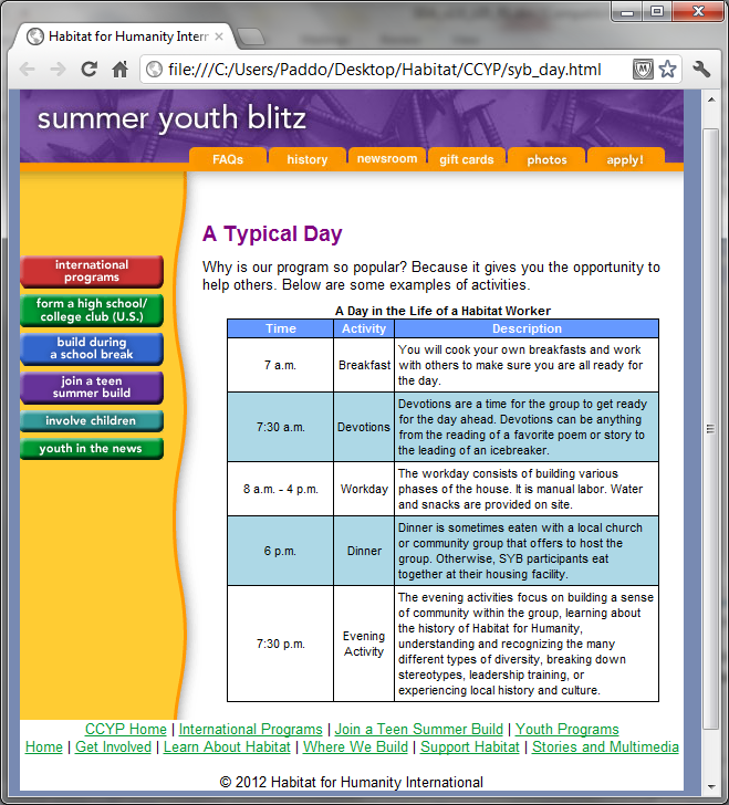 Lesson 5: HTML Tables 5-17 Figure 5-14: Page syb_day.