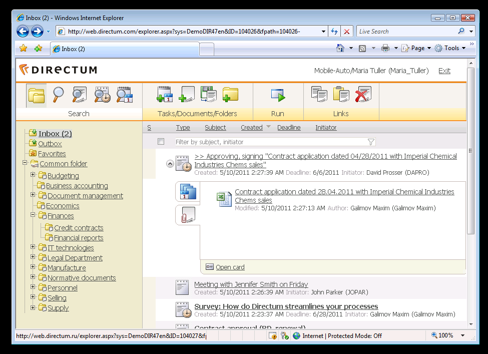 Directum client applications Directum Explorer is a Windows native desktop client application. It allows users to gain access to all Directum functionality via friendly graphical user interface.