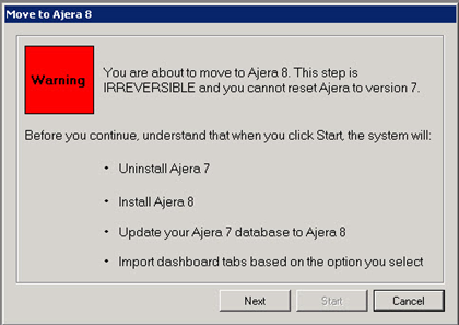 Move to Ajera 8 Step 4: Move to Ajera 8 After you ve test driven the Ajera 8 Sandbox, decide when you re ready to move from Ajera 7 to Ajera 8.