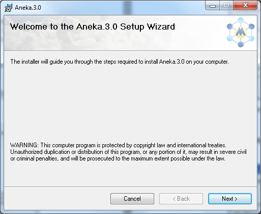 3 Installation This section assumes that you have a copy of the Aneka distribution with you. If you do not have a copy already, you can download the latest version from Manjrasoft s Website. 3.