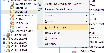 Clear all previous email settings 1.
