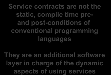 Services = run time Software Engineering A Service contract involves the interface, the Service Level agreement and QoS Contracts are key to be able to develop, debug, optimize and maintain systems