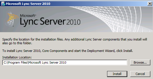 1. Log on as LYNCLAB2\Administrator. 2. Mount the Lync Server 2010 installation media. 3. Navigate to the \Setup\amd64 directory. 4. Execute the setup.exe file to start the Deployment Wizard. 5.