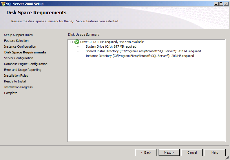 13. On the Server Configuration page, enter the credentials for the SQL Server