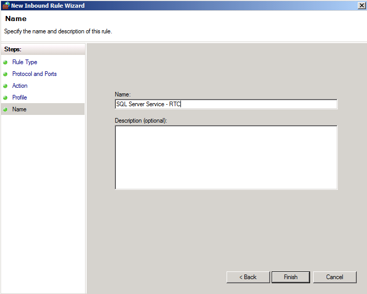 Configure the Windows Firewall port exceptions to Enable Access to the SQL Server Browser service 1. On the Actions pane, click New Rule. 2. On the Rule Type page, select Port, and then click Next. 3.