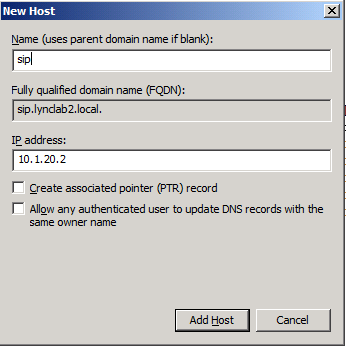 7. In the New Host dialog box, type admin into the Name field, enter 10.1.20.2 into the IP Address field, and then click Add Host. 8. On the confirmation that the host record was created, click OK. 9.