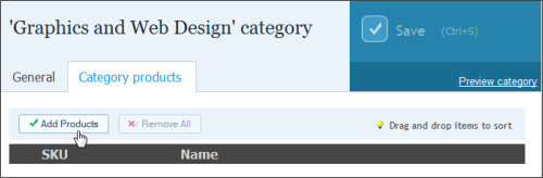 Catalog Categories Adding Category Products: For the Xara store, we added our products prior to creating